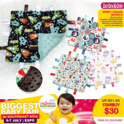 OurOne&Only Minky Taggie Bundle (FREE $5 OONO online E-voucher) *ADDITIONAL FREE Voucher for EARLY BIRD SPECIAL!!
