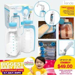 Kiinde Twist Pouch Bundle - 100pcs / 200pcs FREE 2pk Squeeze Bottles (WORTH $39.90!!)