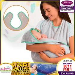 Clevamama Soft Cotton Baby Towel (70 x 70cm) BUY 1 FREE 1!!
