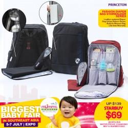 Princeton Fashion Diaper Bag Starwalker Series + FREE Changing Mat & Warmer Bag!!