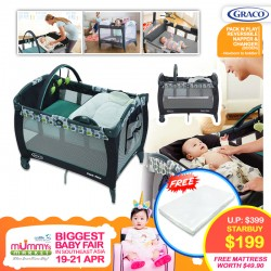 Graco Pack N Play Playpen Napper & Changer (Boden) + Free 2 Inch Anti Dustmite Mattress worth $49.90 (Additional $20 OFF For EARLY BIRD SPECIAL*)