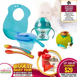 Tommee Tippee Explora Feeding Set Kit FREE Clevamama Thermal Food & Drink Flask + Snapkis Disinfecting Wipes (20pcs)!!
