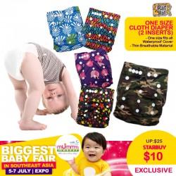 Raf Raf One Size Dash Cloth Reusable Diaper (2insert)