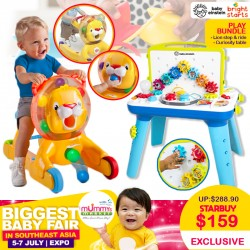 BrightStart Lion Step and Ride + Baby Einstein Curiosity Table Bundle