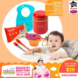 Tommee Tippee Explora Feeding Set Kit FREE Clevamama Thermal Food & Drink Flask + Snapkis Disinfecting Wipes!!