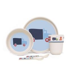 Penny Scallan Design Bamboo Mealtime Set / Snack Bag / Cooler Bag with Bottle Pocket / Lunchbox Bag / Bento Box with Removable Lid