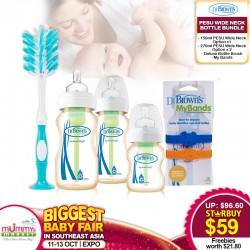 Dr Brown PESU Options+ Wide Neck Baby Bottles Bundle + FREE Gifts Worth $21.80!!