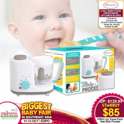 Autumnz 2-in-1 Baby Food Processor (Steam & Blend) + FREE Lilo Travel Pack Ikan Bilis Powder