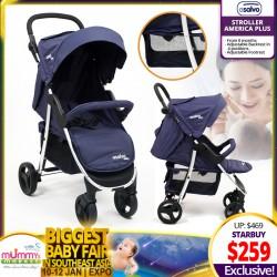 Asalvo Stroller America Plus (Grey Melange / Navy)