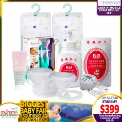 FREEMIE Liberty Mobile Breastpump Deluxe Set FREE Aden+Anais Swaddle (2pcs) + B&B Bottle Cleanser + 5pc Oral Care Kit + Diaper Cream (WORTH $98.40!!)