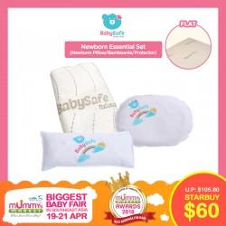 BabySafe Newborn Essential Set (Newborn Pillow/Bambeanie/100% Organic Cotton Waterproof Protector