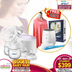 Philips Avent Twin Breastpump + Free Food Warmer + Newborn Essential worth $152.40!
