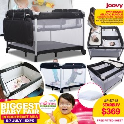Joovy Twin Room2 (Nursery Centre + Playpen) Black + Free Fitted Sheet