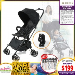 Mimosa Cabin City Stroller (JET SET BLACK) FREE Multi-Purpose Muslin Swaddle + FREE Delivery