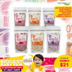 Natureally Brown Rice Twinkle Purple Stars / Beetroot Sweethearts / Pumpkin Donuts 30G (6packs) + FREE 1 Slient Night Kawaii Light. *While Stock Lasts.
