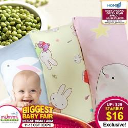 Homie Baby Organic Green Bean Sprout Husk Pillow (13x33cm)
