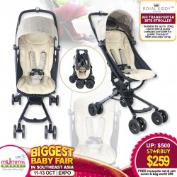 Royal kiddy London RK Air Transporter Bits Stroller + FREE Mosquito Net + Rain Cover & Bag (WORTH $99)