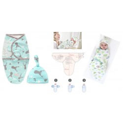 Baby Swaddle With Cap 100% Cotton (0-3months)