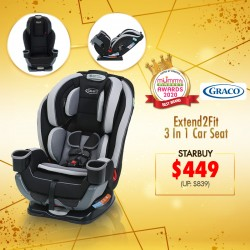 (2020 AWARDS WINNER)Graco Carseat Extend2Fit 3-IN-1 (Garner) + Free High Back Car Cushion Protector (L)