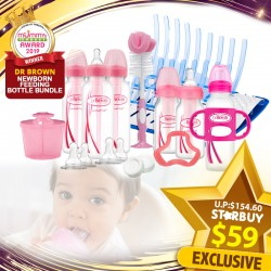 (2019 AWARD WINNER) Dr Brown Newborn Feeding Bottle Bundle (NN Bottles Gift Set + Sipy Spout Bottle + FREE Gifts!!) PWP Offer Available!