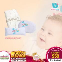 BabySafe Newborn Essential Set (Newborn Pillow/Bambeanie/100% Organic Cotton Waterproof Protector)