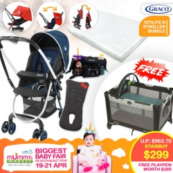 Graco Citilite R Stroller (Navy) + Hello Kitty Sweat Absorbing Pad + Kinds of Mind Multi Storage Stroller Organizer with Cup Holder + Antidustmite Mattress + Free Graco Pack N Play Playpen On The Go (Fletcher)