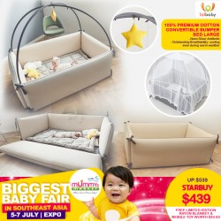LOLbaby 100% Premium Cotton Convertible Bumper Bed (LARGE) + Free Limited Edition Rayon Blanket & Mobile Toy worth $49.80!!
