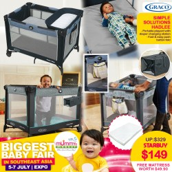 Graco Pack N Play Simple Solutions Playpen (Hadlee) + Free 2 Inch Anti Dustmite Mattress worth $49.90