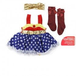 Twokitz Wonder Woman Fluffy Romper Kids Apparel + FREE Matching Sock & Headband