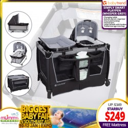 Baby Trend Simply Smart Playpen (Whisper Grey) + Free 2