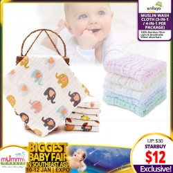 ANRAYO Muslin Wash Cloth (3-in-1/ 4-in-1 per package)