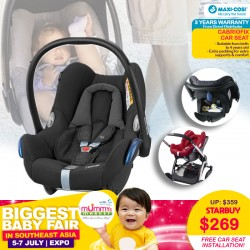 Maxi Cosi CabrioFix Carseat + Free 3 Years Warranty + Carseat Installation worth $80!