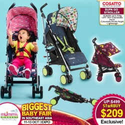 Cosatto Supa Go Stroller + FREE Raincover + Chest pads + Headhugger