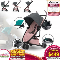 Quinny Zapp Flex Stroller (3 Wheels) + Free Lifetime Warranty + Bumper Bar worth $69.90 + Cup Holder worth $29.90