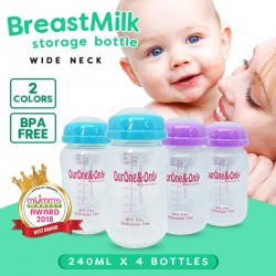 OurOne&Only Wide Neck Breastmilk Storage Bottles (240ml) Bundle of 4 pcs  *ADDITIONAL Bottle for EARLY BIRD SPECIAL!!