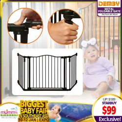 DEMBY Metal Foldable Gate!! (Fit from 60cm-102cm) - (Additional Discount for SAVE MORE Coupons)