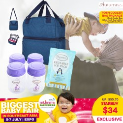 Autumnz Posh Cooler Bag + 4 Wide Neck 5oz Breastmilk Storage Bottles + Reusable Ice Pack Bundle