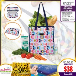 Packit Freezeable Grocery Tote Shopping Bag + FREE GIFT!!!