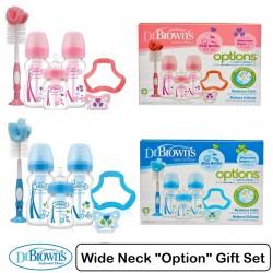 Dr Brown Options WIDE-Neck Bottle Gift Set (PINK/BLUE)