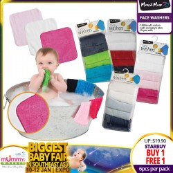 Mum2Mum Face Washers Clothes - 6pk (ASST DESIGNS!!) BUY 1 FREE 1!!