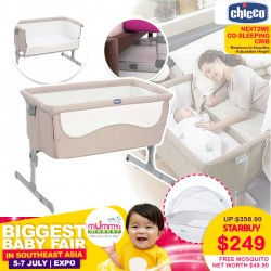 CHICCO Next2Me Co-Sleeping Crib + Free Mosquito Net Worth $49.90!