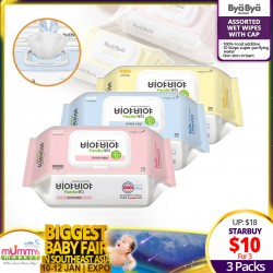 Bya Bya Baby Wet Wipes Range (Honey Balm/Soothing Balm/Premium Herringbone) (Bundle of 3)