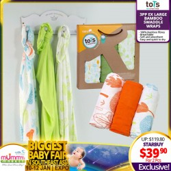 toTs by SmarTrike Ex-Large Bamboo Swaddle Wraps (3pcs Pack) Bundle of 2