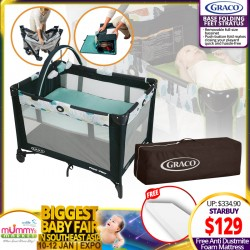 Graco Pack N Play Playpen On The Go (Fletcher/Stratus) + Free 2 inch Anti Dustmite Mattress worth $45.90