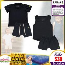Hamako Unisex Top + Short (Set) - (White Baby / Black / White Leaf)