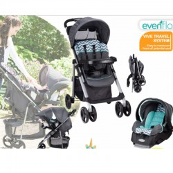 Evenflo Vive Travel System (Full Size Stroller + Infant Carseat + Carseat Base)