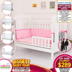 Happy Dream 4-in-1 Baby Cot (WHITE) + Free Gifts worth $248.60!