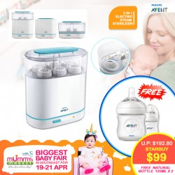Philips Avent 3-In-1 Electric Steam Sterilizer Basic + Free 2 Bottles worth $33.80