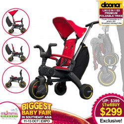 Doona Liki 5-in-1 Trike (S3) - COMPACT & FOLDABLE! Use From 10mth to 3YO!