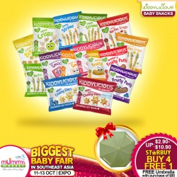 Kiddylicious Baby Snacks (Buy 4 Free 1) - Smoothie Melts / Cheesy Stars / Fruity Puffs / Straws / Wafers / Soft Biscotti / Wafers